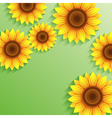 Nature summer green background with 3d sunflower vector image