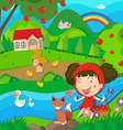Little girl and wolf by the river vector image
