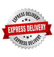 express delivery 3d silver badge with red ribbon vector image