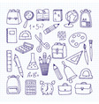 a set of school subjects on a notebook sheet back vector image