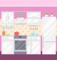 Kitchen with Furniture Utensils Food and Devices vector image
