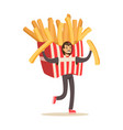 man wearing french fries costume fast food snack vector image