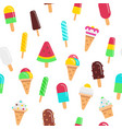 sweet ice cream flat colorful seamless pattern vector image