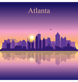 Atlanta silhouette on sunset background vector image
