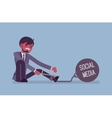 Businessman chained with a metall weight Social vector image