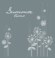 floral hand draw card in grey vector image