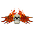 skull wings and flames vector image vector image