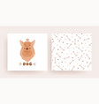 a set of pattern cards with a dog for the shop vector image