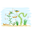Aquarium with shrimps Really childrens drawing vector image