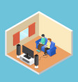 isometric man and woman playing video game in the vector image