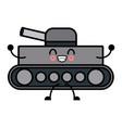 kawaii world war battle tank aiming cannon cartoon vector image
