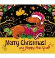 dachshund Christmas card vector image vector image