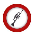 red circle with gray trumpet vector image