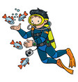 funny oceanographer or diver vector image