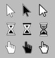 cursor set - mouse hand arrow hourglass vector image vector image