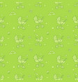 seamless monochrome green pattern with cute baby vector image
