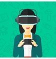 Woman wearing virtual reality headset vector image