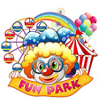 Clown holding sign at the circus vector image