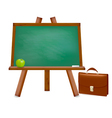 green desk with school supplies vector image