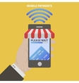 modern smartphone with awning vector image