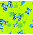 seamless pattern with butterfles in green vector image