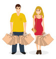 woman and man on a shopping sale with purchases vector image
