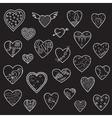 Set of sketch hearts vector image vector image