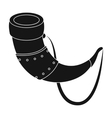 Viking horn icon in black style isolated on white vector image