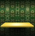 Luxury yellow shelf on green wallpaper vector image