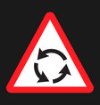 roundabout sign flat icon traffic and road sign vector image