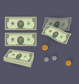 money stack and coins vector image