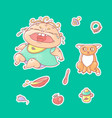 set of color stickers crying vector image
