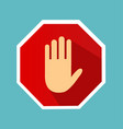 no entry hand sign with long shadow in flat style vector image vector image