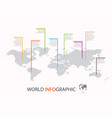 world infographic template world map with marker vector image