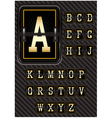 alphabet in retro style on carbon background vector image