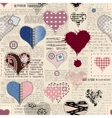 Hearts background with newspaper texture vector image