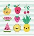 kawaii fruits set collection on decorative lines vector image