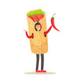 man wearing doner kebab costume fast food snack vector image