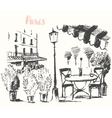 Streets Paris cafe Vintage drawn sketch vector image