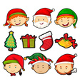 Christmas theme with people and ornaments vector image