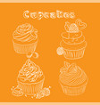scetch cupcake orange background vector image