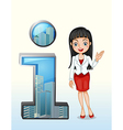 A number one symbol beside a pretty businesswoman vector image vector image