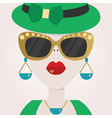 Abstract close up of hipster female face icon vector image
