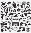 Autumn doodles set vector image