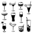 cocktail party icons drink glass silhouette vector image