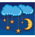 crescent moon with stars in night vector image
