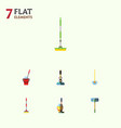 flat icon cleaner set of besom broom broomstick vector image