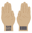 Hand with a bar code vector image