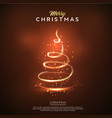 merry christmas card glow christmas tree design vector image