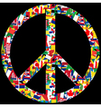 Peace symbol with world flags vector image